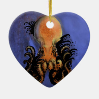 Giant Octopus or Kraken Ceramic Heart Decoration
