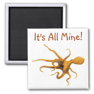 Giant Pacific Octopus Square Magnet
