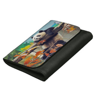 Giant panda baby over the tree leather wallet for women