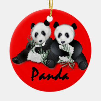 Giant Panda Bears Christmas Ornament