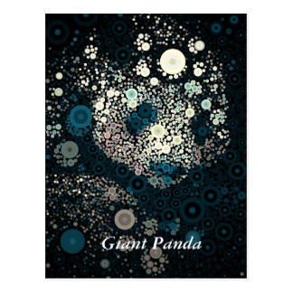 Giant Panda Concentric Circles Blue Postcard