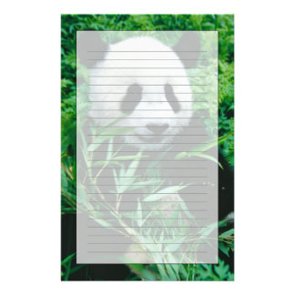 Giant Panda cub eats bamboo in the bush, Personalized Stationery