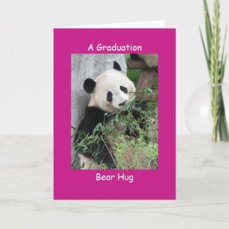 Giant Panda Graduation Bear Hug Pink Card