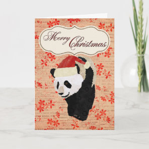 Giant Panda Red Floral Christmas Card