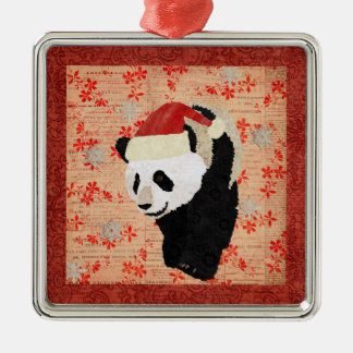Giant Panda Red Snowflakes Ornament