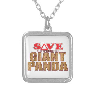 Giant Panda Save Silver Plated Necklace