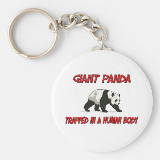 Giant Panda trapped in a human body Basic Round Button Key Ring