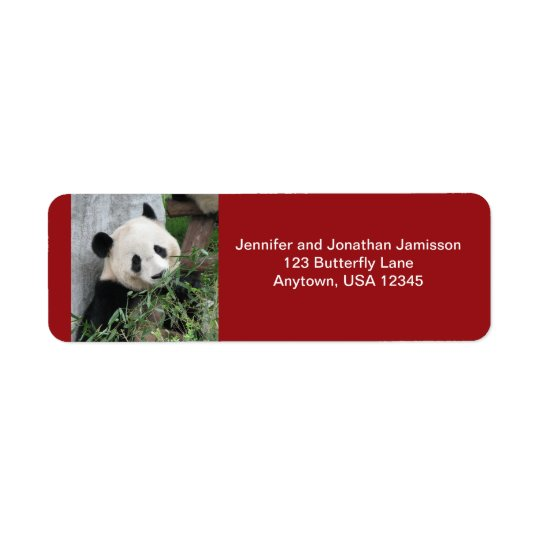 Giant Pandas Dark Red Return Address Labels