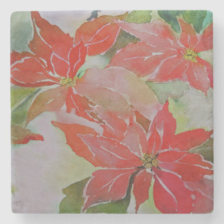 Giant Poinsettias for the Holidays Stone Coaster