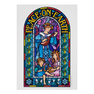 Giant poster Peace on Earth stained glass