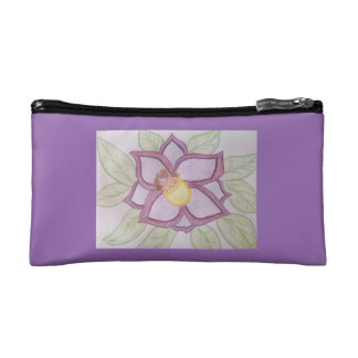 Giant purple bloom cosmetic bag