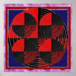 Giant Red Black Silver Line Live Chakra Mandala Poster
