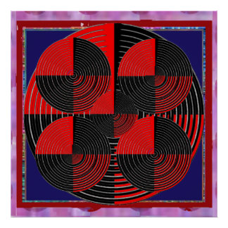 Giant Red Black Silver Line Live Chakra Mandala Poster