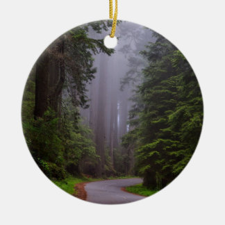 Giant Redwood Trees, Winding Road, National Park Round Ceramic Decoration
