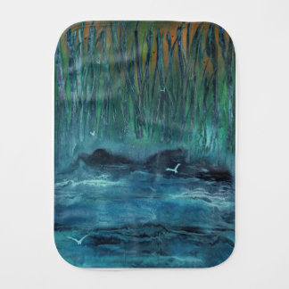 Giant reeds by the ocean burp cloth