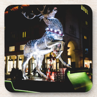Giant reindeer at night hard plastic coasters