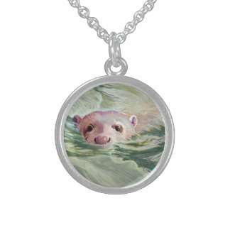 Giant River Otter Fine Art Round Pendant Necklace