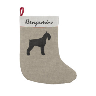 Giant Schnauzer Silhouette with Custom Text Small Christmas Stocking