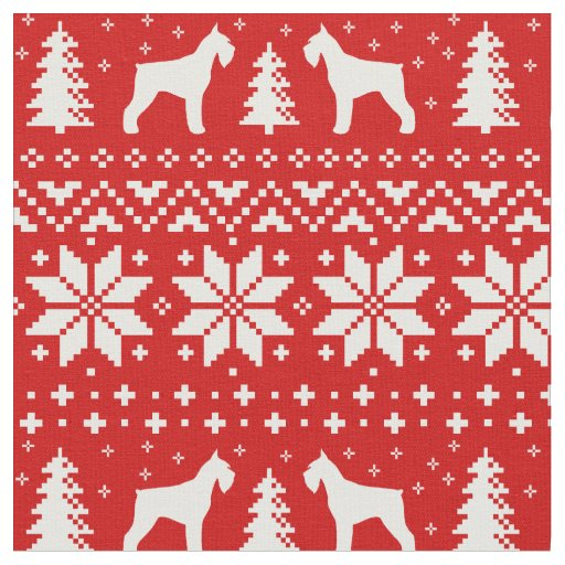 Giant Schnauzer Silhouettes Christmas Pattern Red Fabric