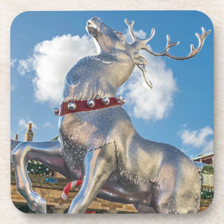 Giant silver reindeer hard plastic coasters