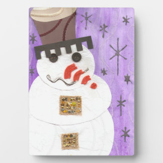 Giant Snowman on an Easel Plaque