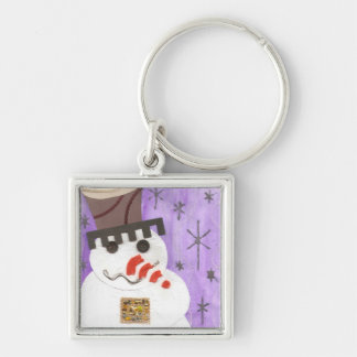 Giant Snowman Premium Keyring Silver-Colored Square Key Ring