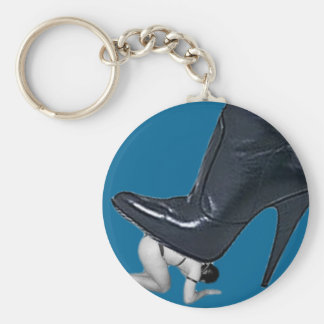 Giant Stiletto Boot Stepping on a slave Basic Round Button Key Ring