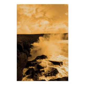 giant storm waves crashing on cliffs poster