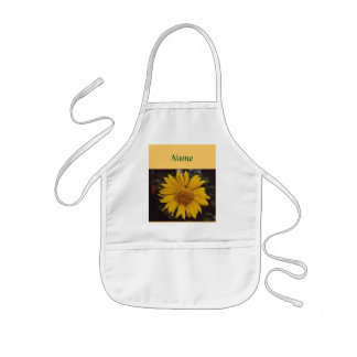Giant Sunflower with Bee, Green Pine Tree Branches Aprons