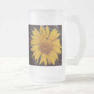 Giant Sunflower with Bee, Green Pine Tree Branches Mug