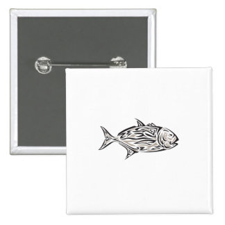 Giant Trevally Side Isolated Tribal Art 15 Cm Square Badge