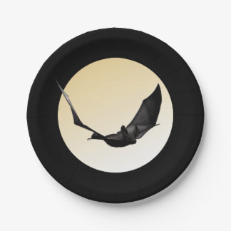 Giant Vampire Bat Flying Over The Moon Halloween Paper Plate