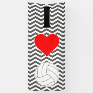 """Giant Vertical """"I Love (Heart) Volleyball"""" Banner"""