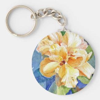 Giant Yellow Gardenia on Blue Background Basic Round Button Key Ring