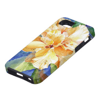Giant Yellow Gardenia on Blue Background iPhone 5 Cases