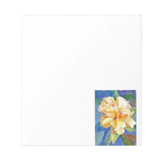 Giant Yellow Gardenia on Blue Background Notepad