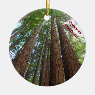 Giantic Redwood Trees National Forest California Round Ceramic Decoration