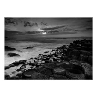 Giants Causeway Sunset Black and White Poster