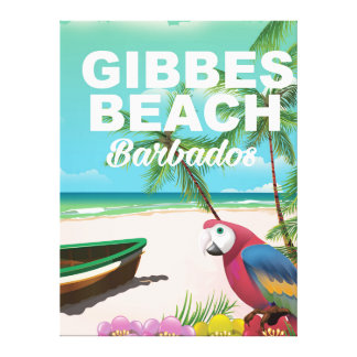 Gibbes Beach Barbados vacation poster Stretched Canvas Print