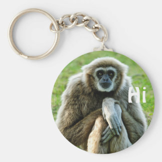 Gibbon, Let's talk about the meaning of life... Basic Round Button Key Ring