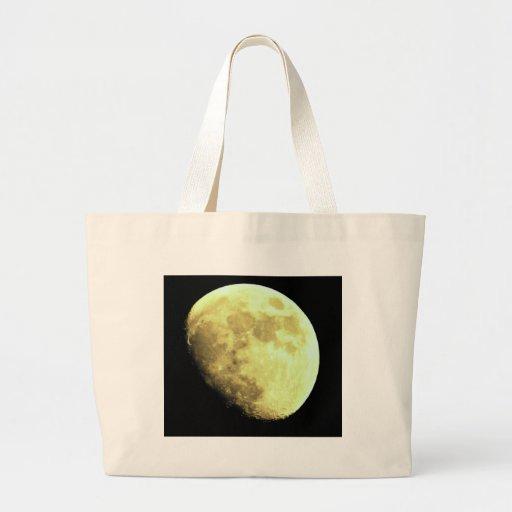 Gibbous Moon Dark background Tote Bags