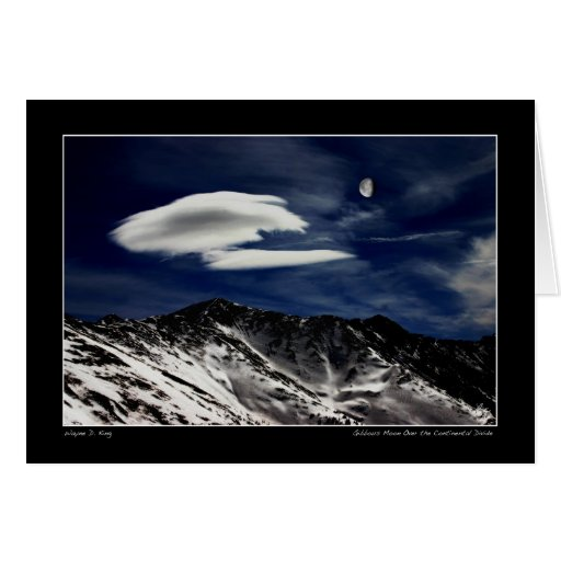 Gibbous Moon Over The Continental Divide Greeting Card