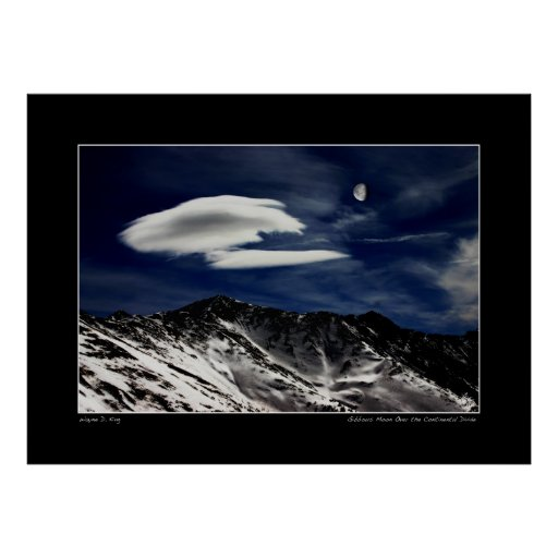 Gibbous Moon Over The Continental Divide Poster