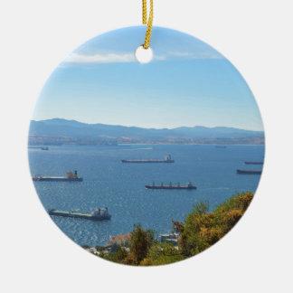 Gibraltar Anchorage From Above Round Ceramic Decoration