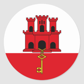 Gibraltar Flag. Britain, British Overseas Classic Round Sticker