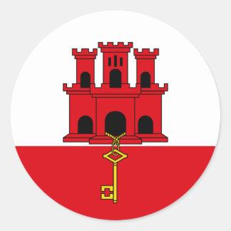 Gibraltar Flag. Britain, British Overseas Round Sticker