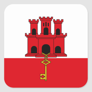 Gibraltar Flag. Britain, British Overseas Square Sticker