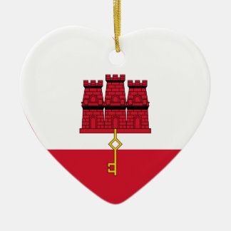 Gibraltar Flag Heart Ceramic Heart Decoration