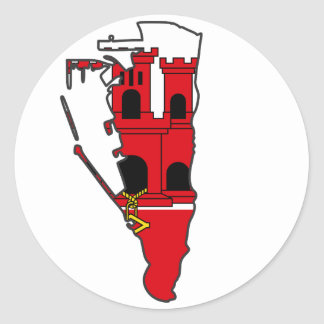Gibraltar Flag map GI Classic Round Sticker