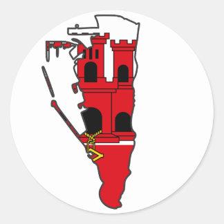 Gibraltar Flag map GI Round Sticker